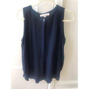 LOFT navy sleeveless chiffon blouse